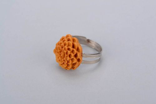 Ring with polymer clay Chrysanthemum - MADEheart.com