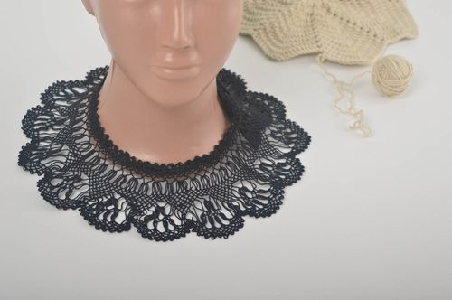 Handmade neck collar crocheted collar black openwork collar evening collar - MADEheart.com