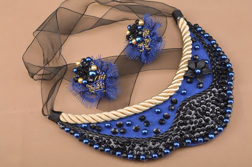 Set of handmade bead embroidered jewelry earrings and necklace blue and black - MADEheart.com