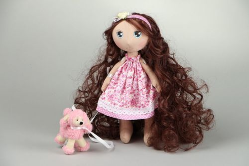 Doll Girl with poodle - MADEheart.com
