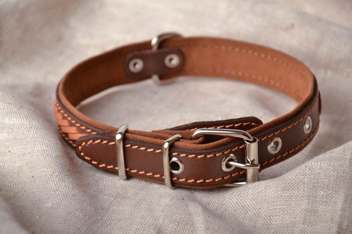 Genuine leather dog collar - MADEheart.com