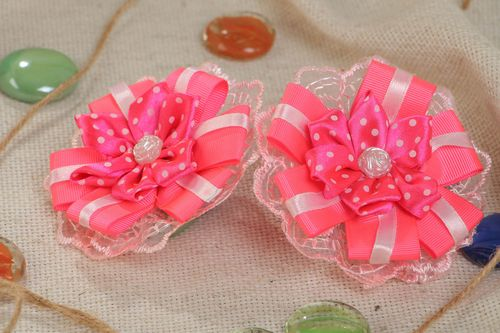 Handmade set of scrunchies made of satin ribbons Flowers 2 pieces hair accessories - MADEheart.com