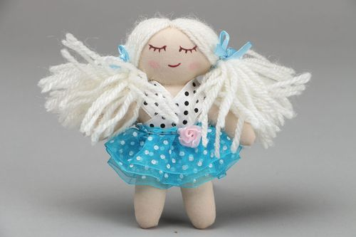 Designer doll in blue skirt - MADEheart.com