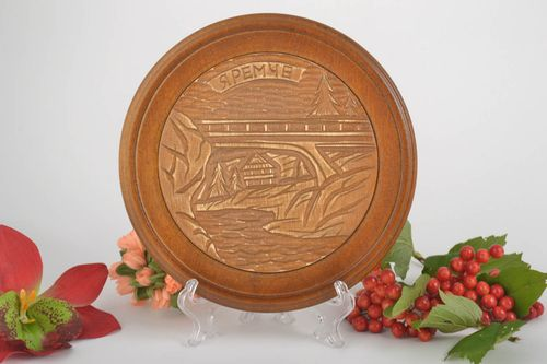 Wood wall decor handmade decorative plate wooden plate wall hanging gift ideas - MADEheart.com