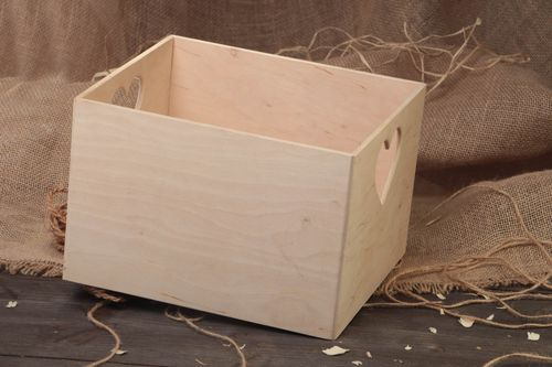 Handmade plywood craft blank middle sized box with heart shaped openings - MADEheart.com
