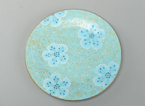 Handmade round ceramic plate with painting in blue color palette for present - MADEheart.com