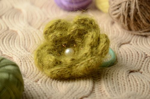 Fluffy olive hair tie with crochet flower - MADEheart.com