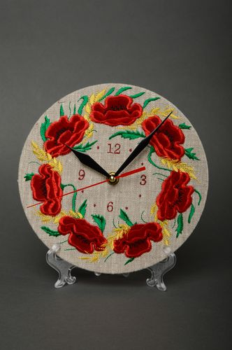 Unusual round wall clock with embroidery - MADEheart.com