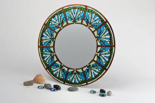 Handmade large round wall mirror with blue and green stained glass painting  - MADEheart.com