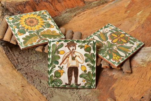 Set of handmade decorative ceramic tiles painted with engobes with ethnic motifs - MADEheart.com