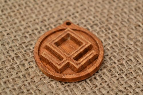 Carved pendant made of ash wood Slavonic pendant amulet with symbol Berezha - MADEheart.com