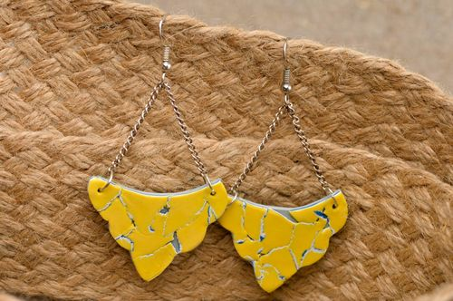 Handmade designer cute earrings unusual clay earrings stylish accessory - MADEheart.com