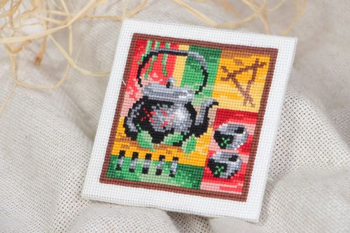 Handmade small square abstract colorful picture with cross stitch embroidery  - MADEheart.com