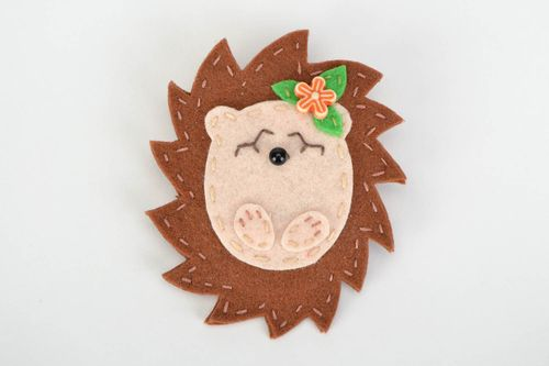 Nice handmade felt brooch in the shape of hedgehog for children - MADEheart.com