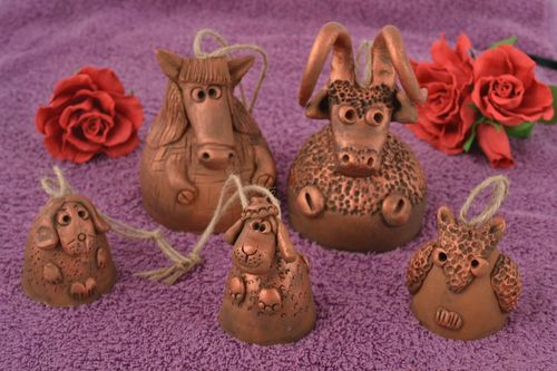 Set of 5 handmade designer figured clay bells of different sizes for home decor - MADEheart.com