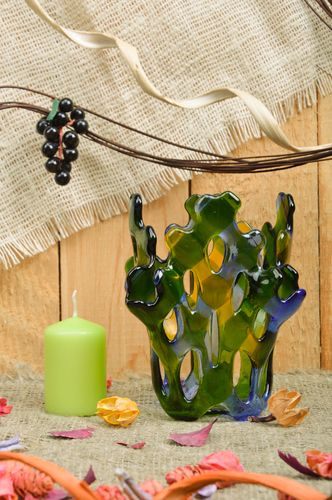 Handmade decorative fancy fused glass candle holder in blue and green colors - MADEheart.com