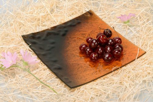 Fused glass plate Brown relief - MADEheart.com