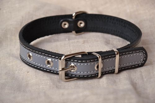 Reflective leather collar - MADEheart.com