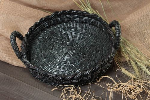 Handmade black round fruit tray with handles woven of newspaper tubes  - MADEheart.com