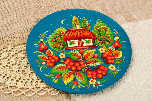 Rustic home decor handmade wood plate for decorative use only painted plate  - MADEheart.com