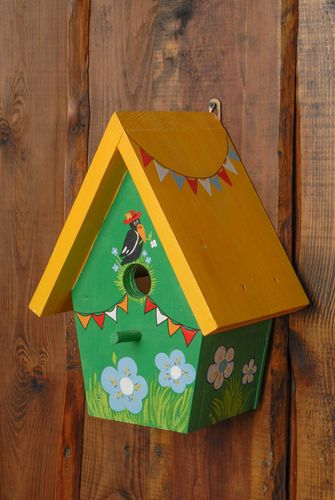 Bright painted wooden nest box - MADEheart.com