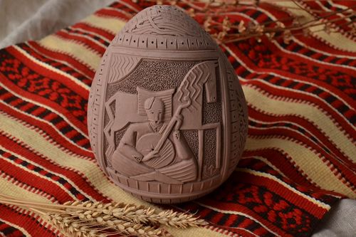 Handmade painted clay egg - MADEheart.com