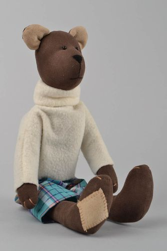 Handmade fabric soft toy brown bear in white sweater and checkered shorts - MADEheart.com