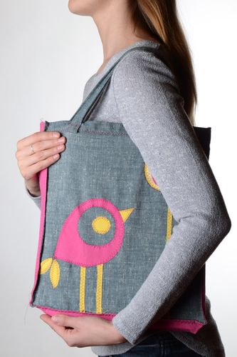 Large gray handmade fabric shoulder bag with applique work for girls Bird - MADEheart.com