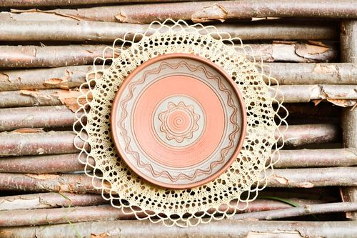 Handmade painted ceramic plate unusual clay wall plate decorative use only - MADEheart.com