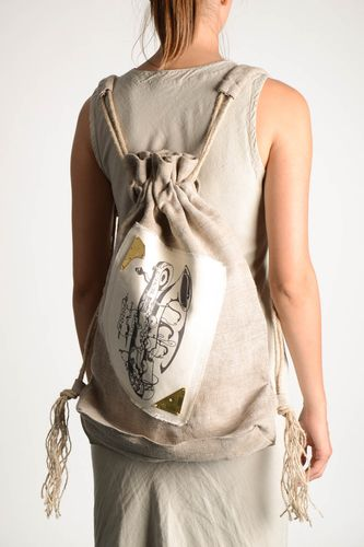 Designer backpack handmade linen backpack linen accessories fashion bags - MADEheart.com