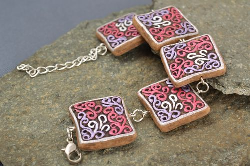 Handmade clay bracelet on chain with square elements painted with acrylics - MADEheart.com