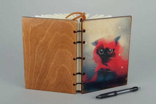 Leather notebook Cat Red Hat - MADEheart.com
