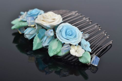 Handmade decorative hair comb with polymer clay blue flowers and moon stone - MADEheart.com