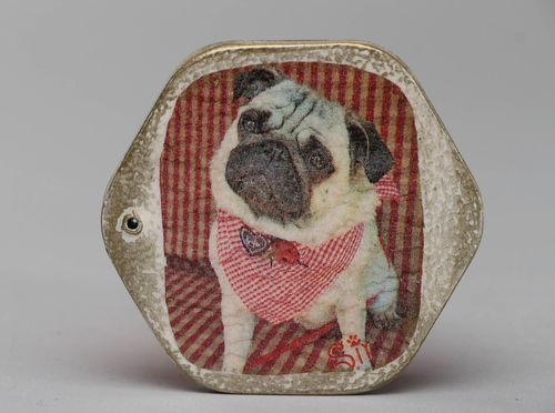 Decoupage wooden pocket mirror Pug - MADEheart.com