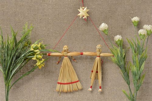 Handmade ethnic dolls straw decorations wall hanging for decorative use only - MADEheart.com