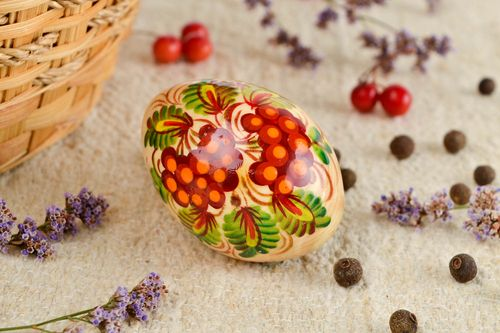Unusual handmade Easter egg Easter decor painted wooden egg decorative use only - MADEheart.com