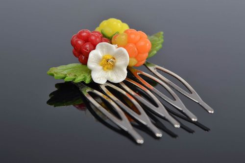 Handmade small decorative hair comb with polymer clay berries and flowers - MADEheart.com