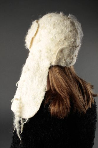 White handmade hat winter hat with ears woolen hat felt hat gift for women  - MADEheart.com
