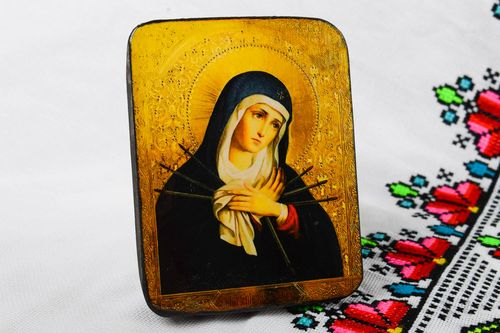 Handmade icon wooden icon of saints beautiful icon painted icon wooden product - MADEheart.com