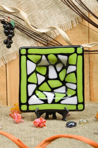 Handmade decorative fused glass square ashtray in black and green colors - MADEheart.com
