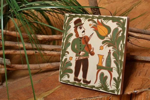 Ceramic tile painted with engobes and glazes Violin handmade interior wall panel - MADEheart.com