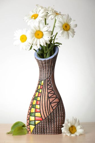 Handmade brown color vase 14 inches, 2,2 lb - MADEheart.com