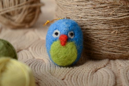 Interior felted wool toy Blue Chicken - MADEheart.com