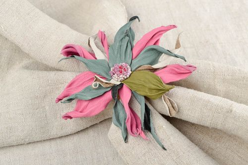 Handmade brooch jewelry leather accessories flower brooch leather flowers - MADEheart.com