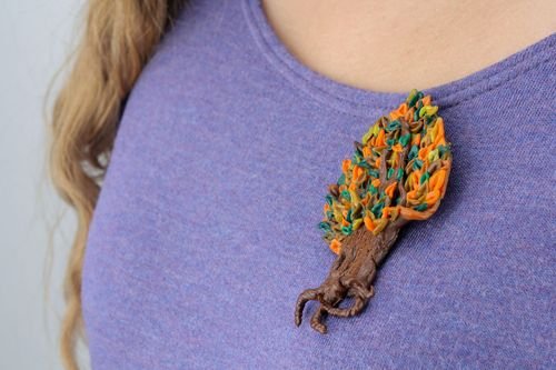 Unusual polymer clay brooch - MADEheart.com