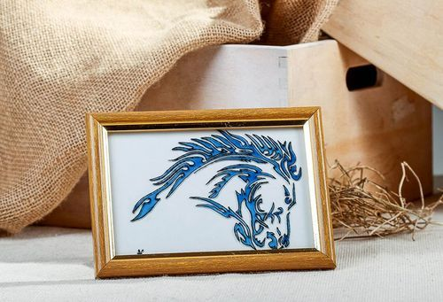 Stained glass picture in wooden frame Horse - MADEheart.com