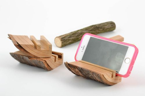 Set of 3 small handmade designer desktop cell phone stands cut out of wood - MADEheart.com