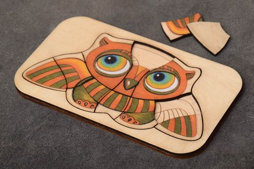 Unusual beautiful handmade childrens plywood puzzle toy Owl - MADEheart.com