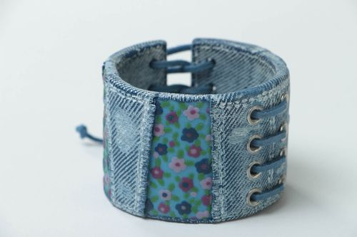 Handmade designer wide polymer clay womans wrist bracelet with denim fabric - MADEheart.com