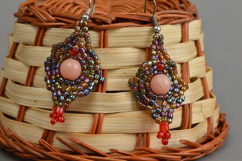 Beautiful festive earrings handmade unusual accessories beaded jewelry - MADEheart.com